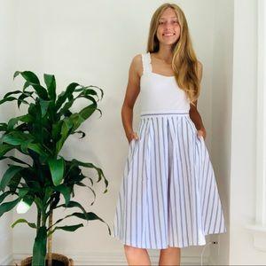 ZARA blue and white stripped skirt